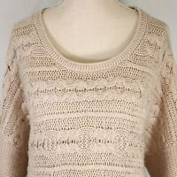Kimchi Blue Beige Boxy Sweater Size Large Womens Wool Blend Pullover Scoop Neck