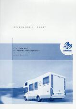 Preisliste Knaus Reisemobile 8/03 Preise Wohnmobil 2004 Traveller Sun Sport Line