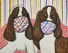 English Springer Spaniel in Quarantine Mask Pop Art Print 8 x 10 Dog Collectible