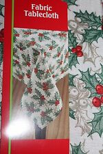 """HOLIDAY HOLLY LEAVES BERRIES 100% Poly FABRIC TABLECLOTH 52"""" X 70"""" 132cm x 177cm"""