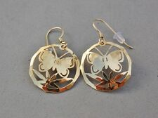 Wild Bryde Butterfly Earrings Gold Tone Hammered Domed Dangle French Hook 1""