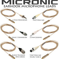 REPLACEMENT DETACHABLE LEAD MICRONIC BEIGE EAR HOOK HEADSET BODY PACK MICROPHONE