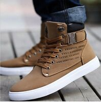 Fashion Men's Oxfords Casual High Top Shoes Leather Shoes Canvas Sneakers  Sz