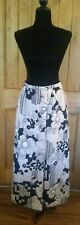1970s Vintage Macy's Marchioness Black White Mod Floral Quilted Maxi Skirt