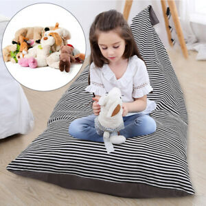 Kids Bean Bag Soft Velvet Large Stuffed Toy Storage Cover Pouch Organizer Chair
