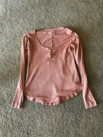 Melrose And Market Women's Long Sleeve Thermal Coral Muted Shirt Size M