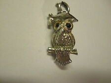 Vintage MONET Silver Tone OWL CHARM with Mortarboard Graduation Hat, Spring Ring