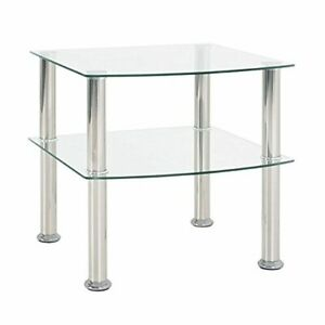 HAKU Furniture End Table with Frame, stainless steel, glass, 45x45x44 cm