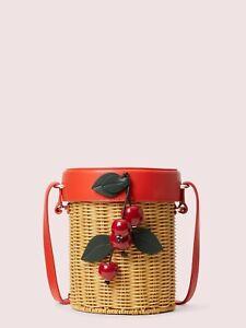 Kate Spade Picnic Cherries Wicker Crossbody Bucket Bag Natural  NEW $298
