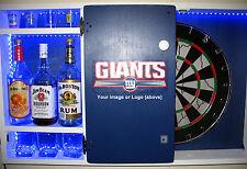 Custom NFL MLB Team Dartboard Liquor Cabinet NY GIANTS JETS Man Cave Dart Board