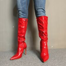 Women Pointed Toe Patent Leather Stiletto Mid-Calf Boots High Heels Party Shoes
