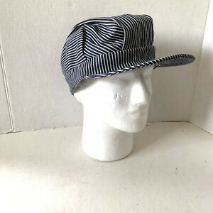 Vintage Made In USA Adult Train Engineer Hat Cap One Size Cotton