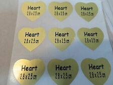 100 Gold Matte Heart Shape Customized Waterproof Name Stickers 2.8 x 2.5 cm Labe