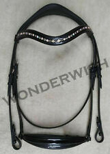 Shimmer Patent Drop Noseband Leather Horse Bridle With Crystal Wave Browband