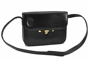 Authentic YVES SAINT LAURENT Shoulder Cross Body Bag Leather Black E2816