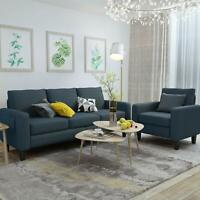2 PCS Sofa Set with Upholstered 3 Seat Sofa Couch and Single Sofa Chair Blue