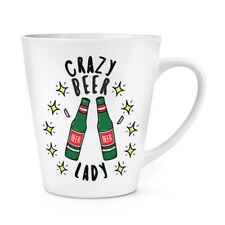 Crazy Beer Lady Stars 12oz Latte Mug Cup Funny Joke Drunk Mum Mothers Day