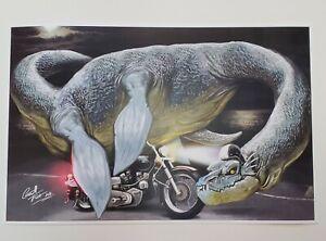 Loch Ness monster harley davidson motorcycle helmet art print