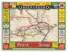 Underground Railways of London Partington Advertising MAP circa 1908 Tube 18x24
