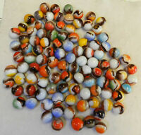 #10949m Vintage Group or Bulk lot of 100 Mostly Vitro Agate Blackie Marbles
