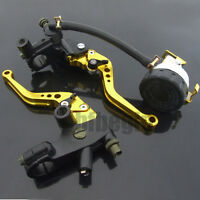 "Pair 7/8"" Universal Motorcycle Brake Clutch Lever Master Cylinder Reservoir Set"