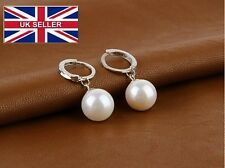 Silver plated shell pearl earrings, flower hoop earrings, brand ear cuff bijoux