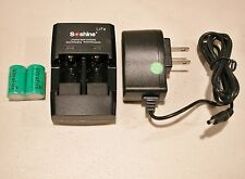 2 pc Ultrafire CR2 battery w/ Soshine Charger CR2/RCR123A  3V + 12v Car Adaptor