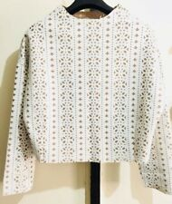 AISHANG perforated white dolman top with beige lining