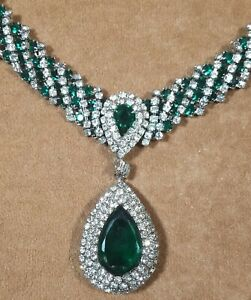 Vintage Fancy Clear & Green Rhinestone Statement Necklace – AS IS