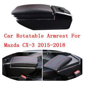 Car Centre Console Storage Box Armrest Rotatable For Mazda CX-3 2015-2018 Store