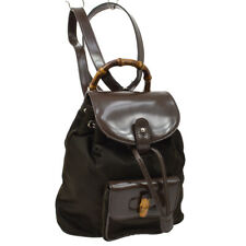 GUCCI Bamboo Backpack Bag Brown Nylon Patent Leather Vintage AK25503d