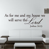 As For Me and My House Joshua 24:15 Quote Wall Decal Vinyl Sticker Bible Verses