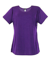 Jostar Acetate Slinky Stretchy Travel Knit Short Sleeve Big Top Purple ~ XL