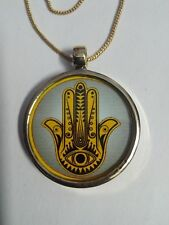 Handmade Glass Farmed Brass Deity Beautiful Khamsa Pendant & Brass Chain