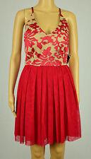 Teeze Me Juniors Red/Nude Sleeveless Embroidered Pleated Empire Waist Dress 5