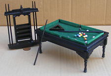 1:12 Sale Black Wooden Pool Table Balls & 6 Cues Dolls House Pub Snooker 996