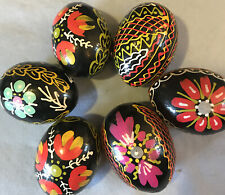 6 Hand Painted Wooden Easter Eggs