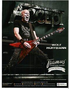 2018 FRAMUS Blue Flying V Electric Guitar WOLF HOFFMAN Accept magazine ad