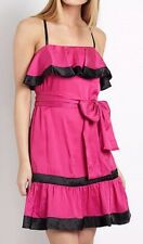 NWT French Connection Duke of Hazard Hot Pink/Black Strappy Ruffle Dress, 6