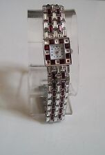 Designer look bling Silver finish Red/Clear stone bracelet fashion women's watch