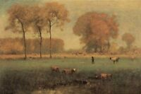 Oil painting George_Inness Summer Landscape cows in impressionism scene canvas