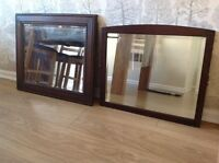 """Two Vintage Oak Bevelled Mirrors 25X21"""" And 22X19"""""""