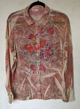 180 Burnout Top Size L Long Sleeve Button Front Polyester