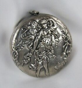 Antique Tested 906 Silver Repousse Fairy Pill Case Trinket Box