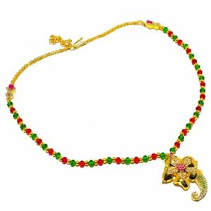 """Ruby  Peridot White Topaz Handmade Gold Overlay Silver Jewelry N-90 Necklace 18"""""""