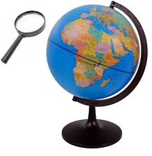 WORLD GLOBE Rotating Swivel 32cm Map of Earth Atlas Geography FREE MAGNIFIER UK