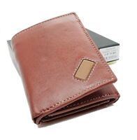 Brown Premium Handcrafted Cowhide Leather Men's Trifold Wallet Credit Card