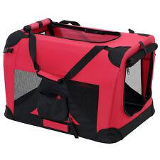 PRO.TEC® Hundetransportbox Rot Faltbar Transportbox Hunde Falt Box Trage Tasche