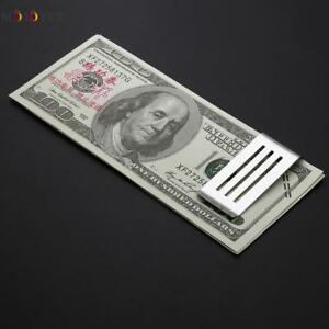 Stainless Steel Metal Money Clip Business Card Credit Card Cash Wallet 16-8