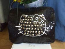 Hello Kitty Forever 21 sequin stud metallic kitty black clutch handbag makeup